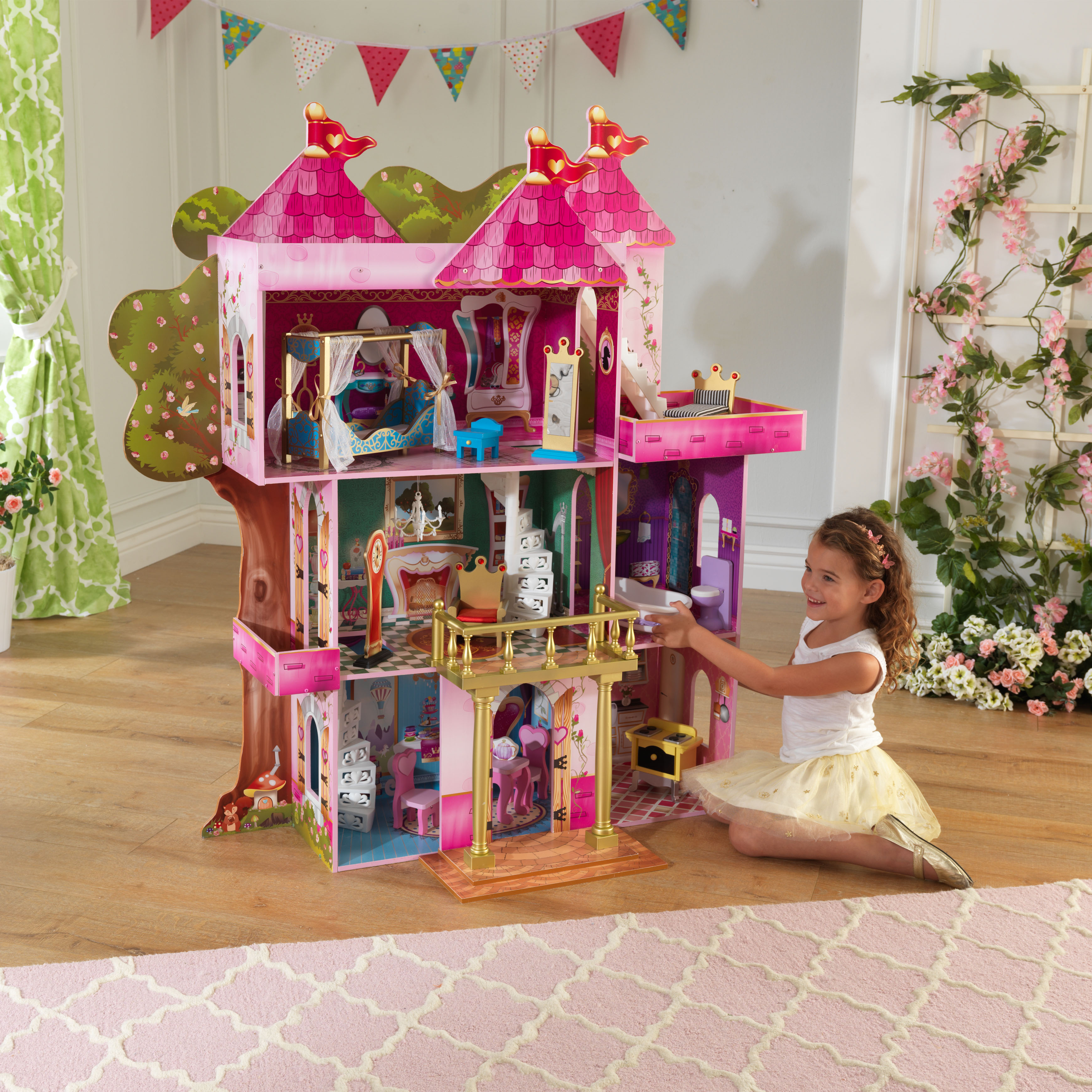 Kidkraft Storybook Mansion Dollhouse With 14 Accessories Included