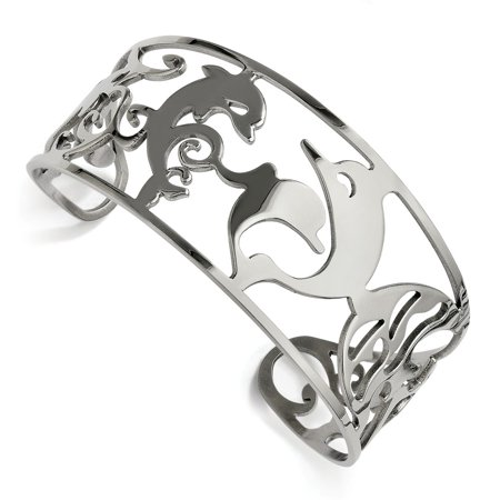 Mia Diamonds Stainless Steel Dolphins Cuff Bangle