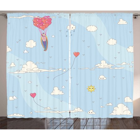 Unicorn Party Curtains 2 Panels Set, Flying Horse with Heart Balloons Childish Cartoon Girly Design, Window Drapes for Living Room Bedroom, 108W X 90L Inches, Pale Blue Multicolor, by Ambesonne (Balloons With Designs)