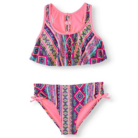 Girls Swim Coverup (Big Girls' Lace Up Flounce Bikini)