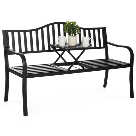 Best Choice Products Cast Iron Patio Double Bench Seat for Garden, Backyard w/ Pullout Middle Table, Weather-Resistant Steel Frame, Black ()