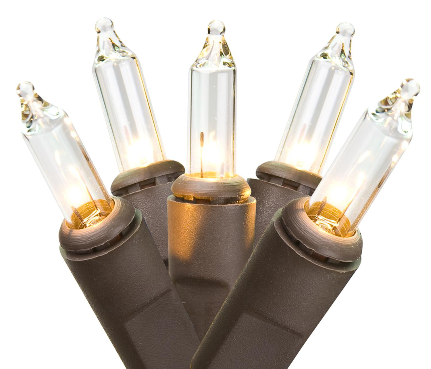 Set of 35 Clear Mini Christmas Lights - Brown Wire - Walmart.com