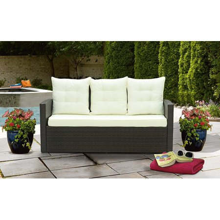 New Outdoor Patio Rattan Bench With Pillows Brown Beige