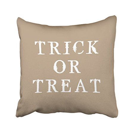 WinHome Fun Simple Happy Halloween Trick Or Treat Vintage Popular Polyester 18 x 18 Inch Square Throw Pillow Covers With Hidden Zipper Home Sofa Cushion Decorative Pillowcases (Popular Halloween Treats)