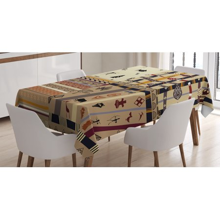Primitive Decor Tablecloth, Native Hunting Animals in Wild Elephant Zebra Fish Snake Tribal Patterns, Rectangular Table Cover for Dining Room Kitchen, 60 X 84 Inches, Black Beige, by Ambesonne - Fishnet Tablecloth