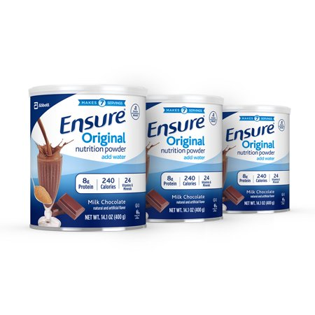 Ensure Original Nutrition Shake Powder with 8 grams of protein, Meal Replacement Shakes, Milk Chocolate, 14.1 oz, 3 Count - Meal Replacement Shake Protein Powder