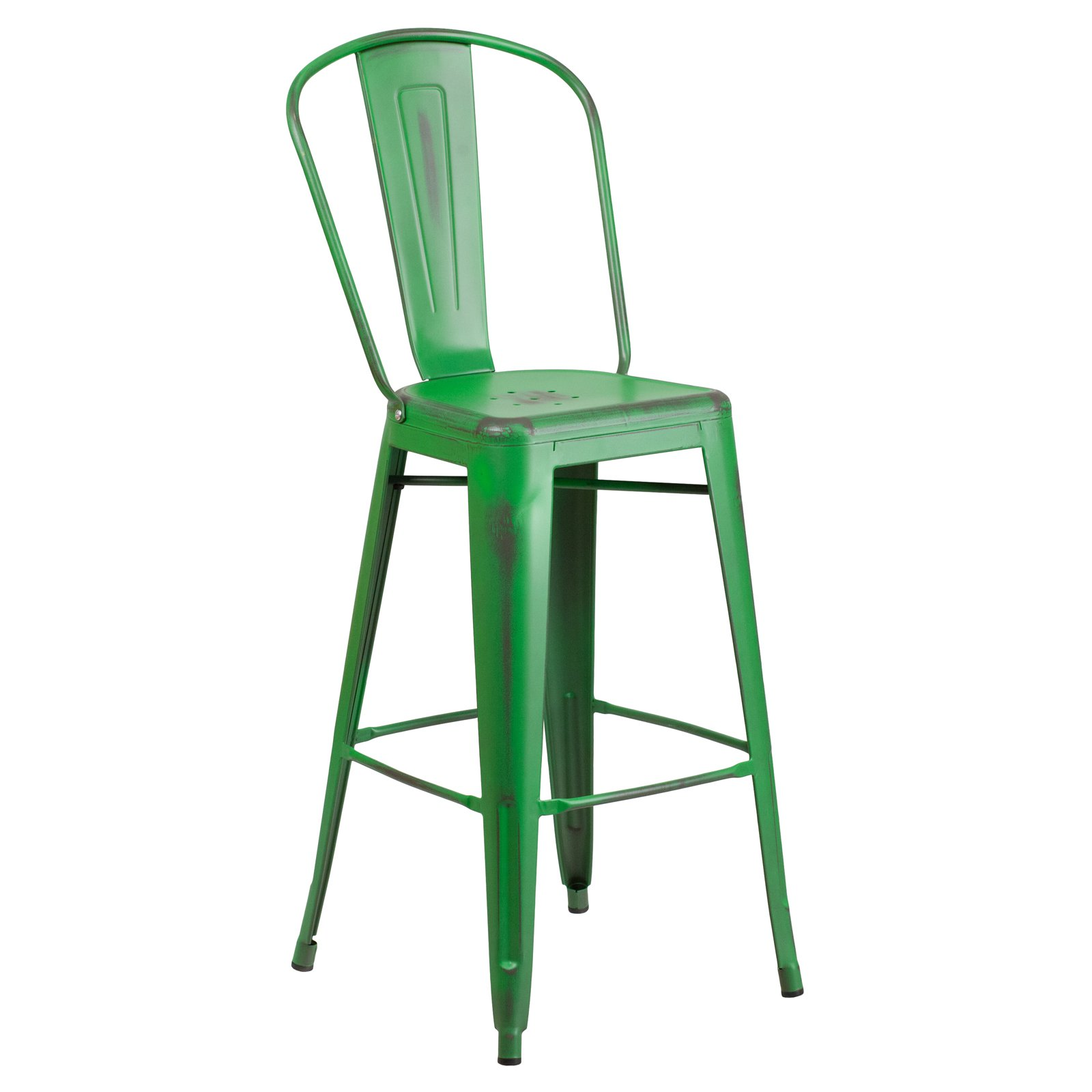 Flash Furniture 30'' High Distressed Metal Indoor-Outdoor Barstool with Back Multiple Colors
