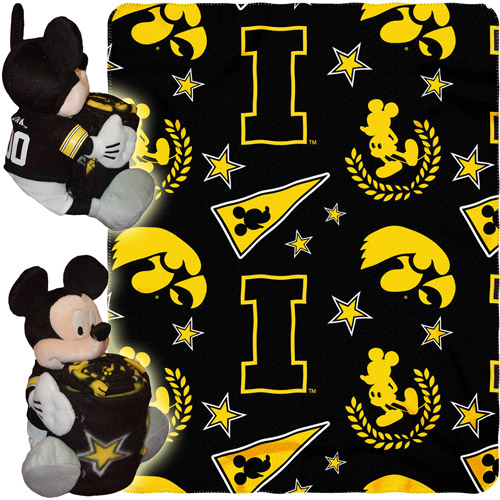 "Disney NCAA Hugger Pillow and 40"" x 50"" Throw Set, Iowa Hawkeyes"