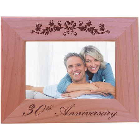 30th Anniversary - 4x6 Inch Wood Picture Frame - Great Anniversary gift for friends, parents and (30th Anniversary Frame)