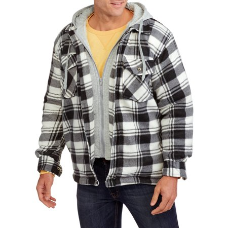 Men's Plaid Polar Fleece Sherpa Lined Full Zip Jacket with Chest Warmer