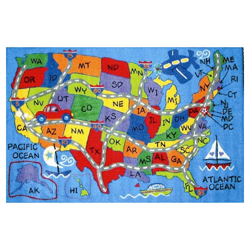 Fun Rugs Fun Time Travel Map Area Rug
