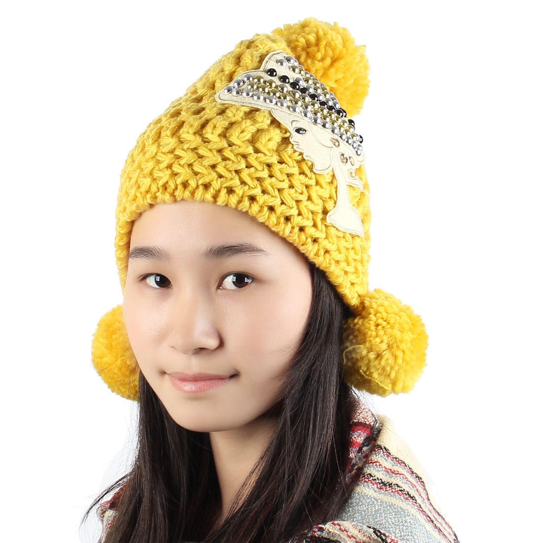 Women Winter Warm Beads Detail Stretchy Pom Pom Fashion Hat Cap Yellow