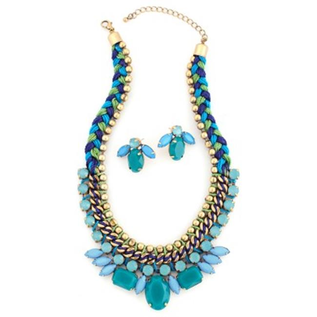 C Jewelry Multicolor Green And Blue Necklace And Earring Set