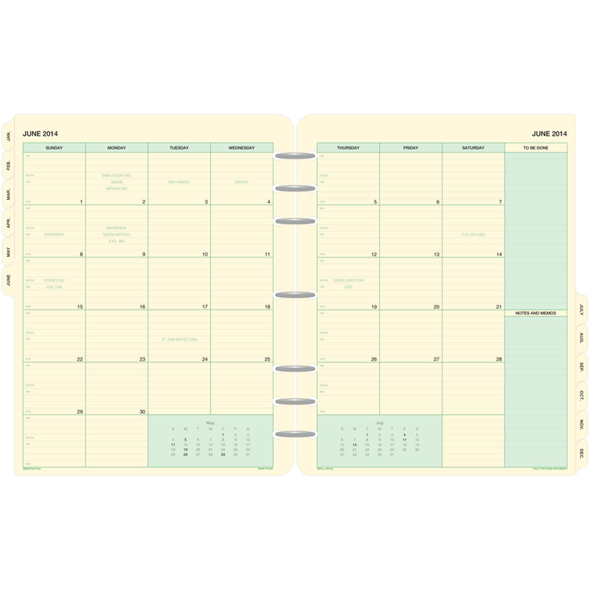 Day-Timer 2-Page-Per-Month Tabbed Calendars Folio Size - April Start Refills