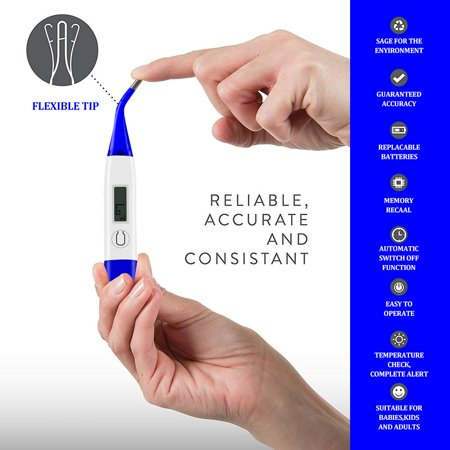 Reactionnx Clinical LED Digital Professional Thermometer Best To Read Monitor Fever Temperature Quickly 60s By Oral Rectal Underarm  Axillary Thermometers  Reliable Readings for Baby Adult (The Best Baby Thermometer Uk)