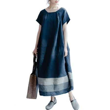 Women Crew Neck Short Sleeve Striped Baggy Long Dress (Misses Pullover Dress)