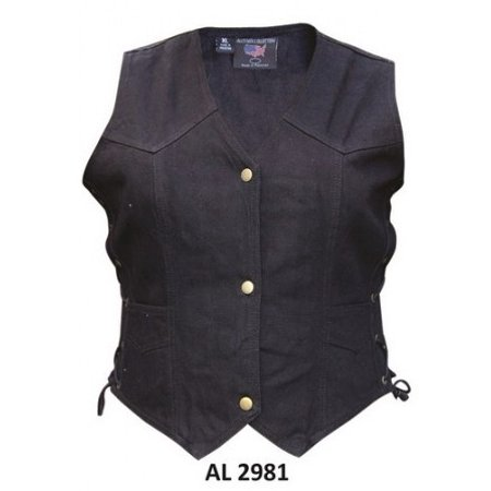- Ladies Girls Fashion X Large Size Bike Riding Style Black Denim Vest 2 Front Pockets With Side Laces