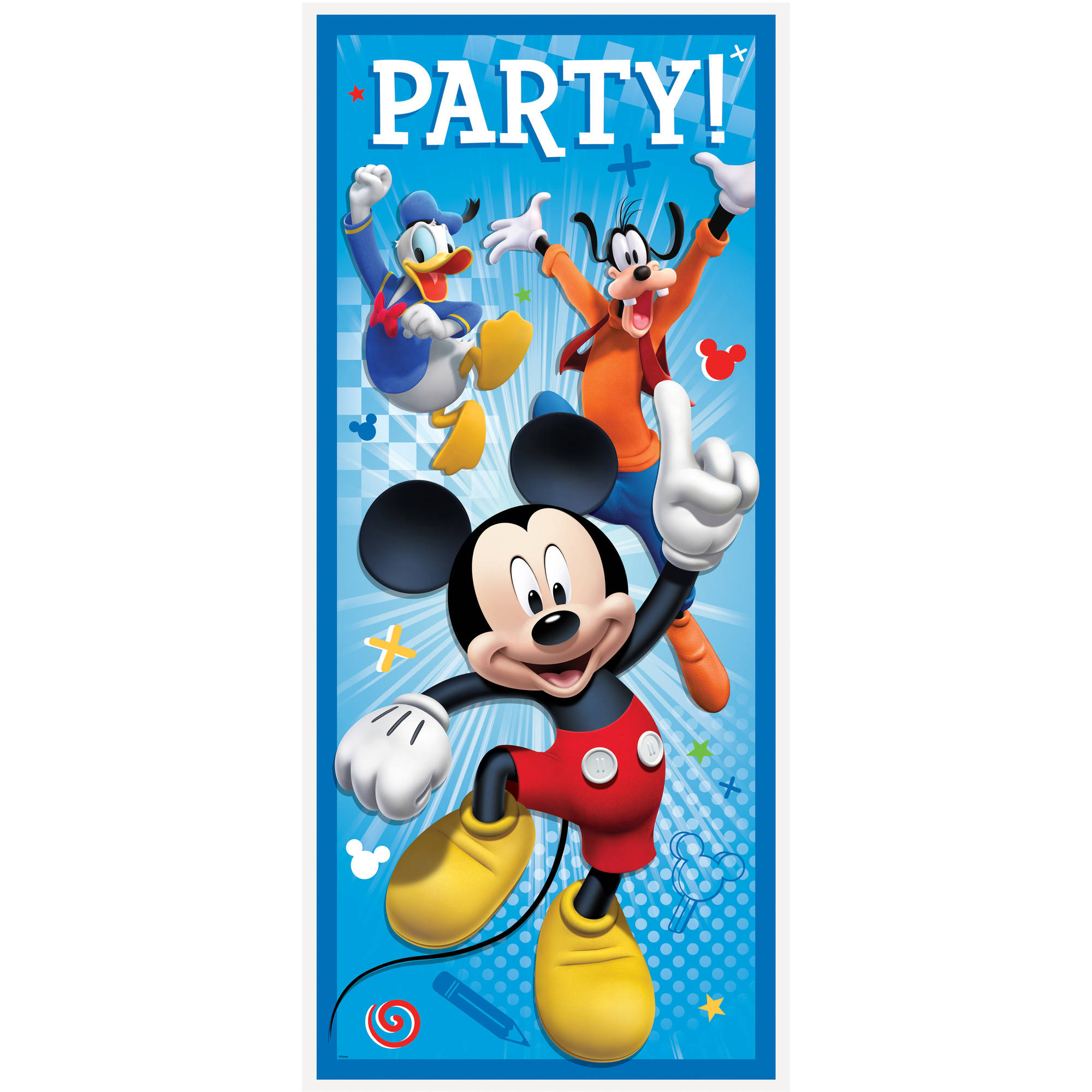 Plastic Mickey Mouse Door Poster Party Decoration, 60 x 27 in, 1ct