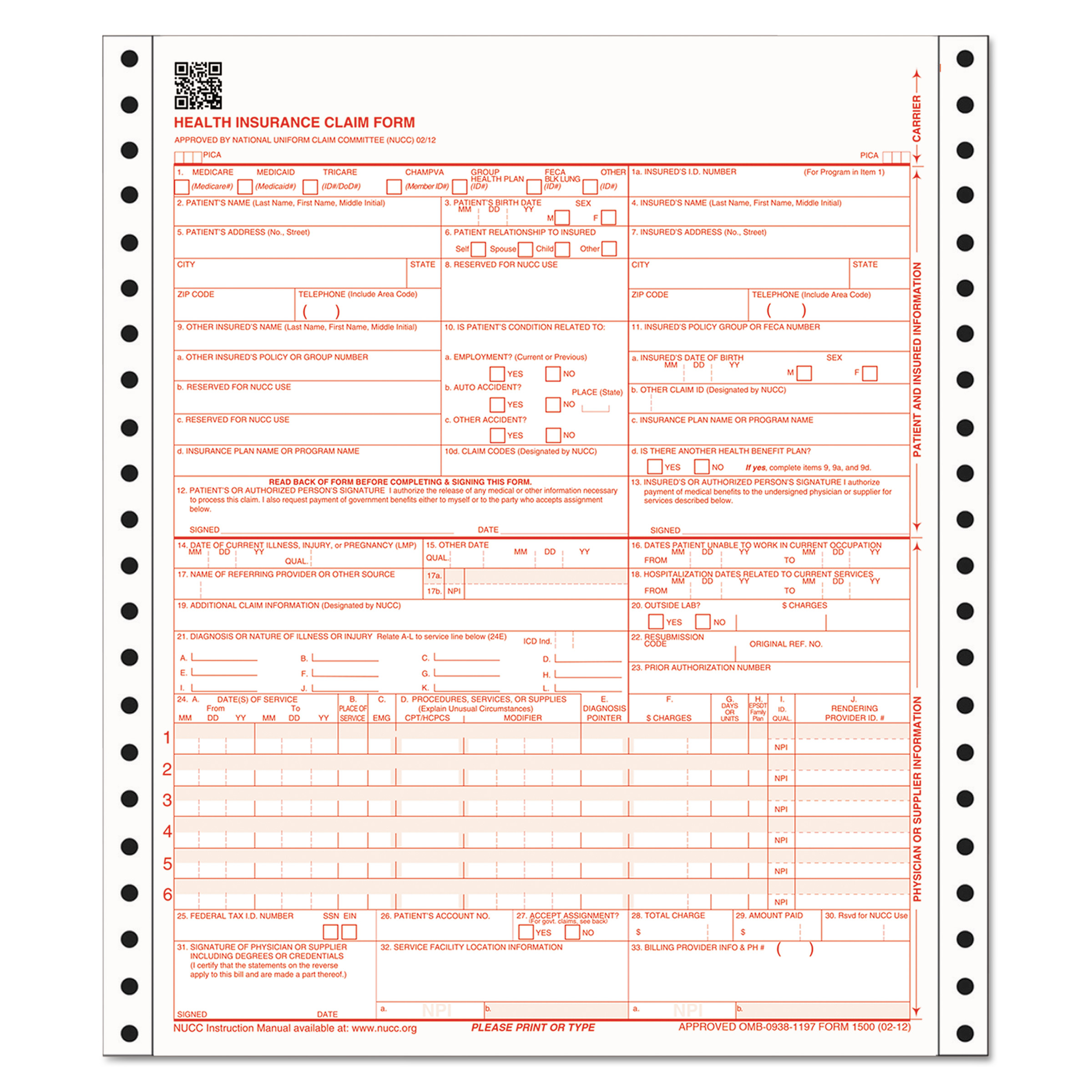 "Cardinal Brands Adams ABFCMS1500C CMS Health Insurance Claim Form, 9-1/2"""" X 11"""", THREE-PART, 100 Continuous Forms"