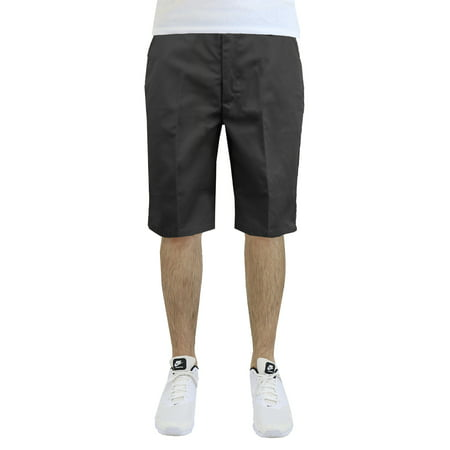 Mens Flat Front Twill Shorts - Work Uniform Casual Everyday Wear - Father's -