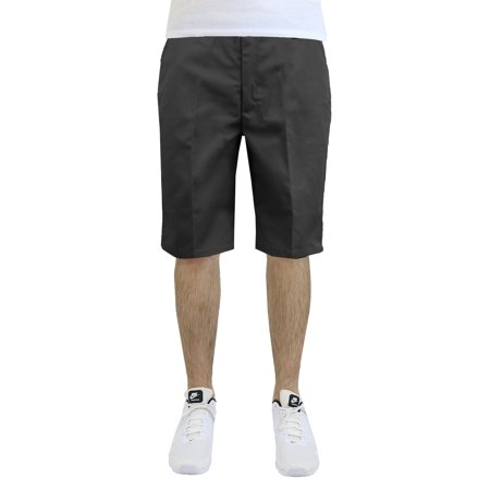 Mens Flat Front Twill Shorts - Work Uniform Casual Everyday Wear - Father