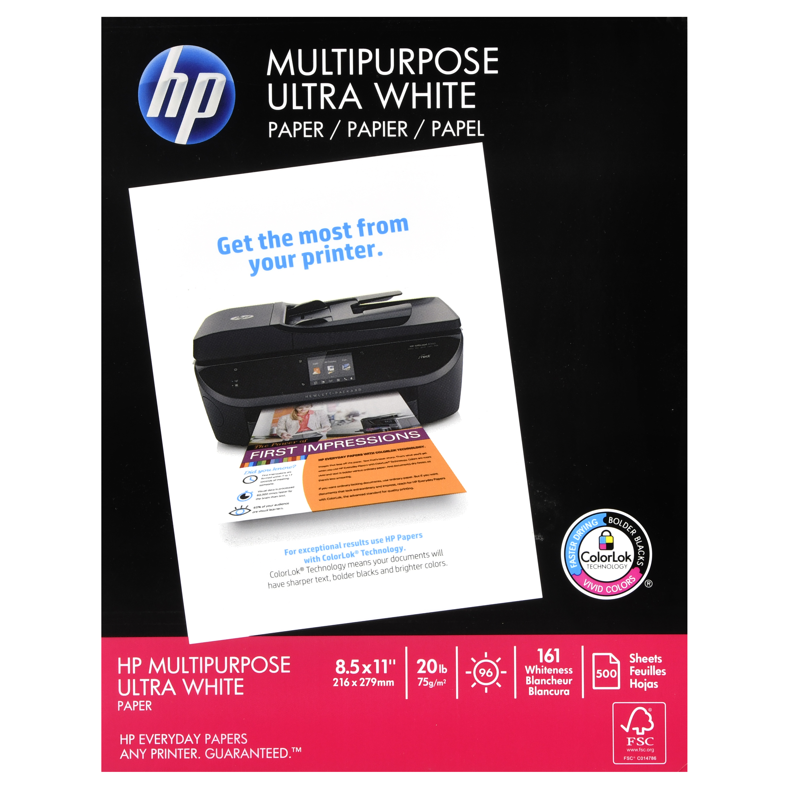 HP Multipurpose Paper, 8.5 x 11 In, 20 lb, 96 Bright, 500 sheets