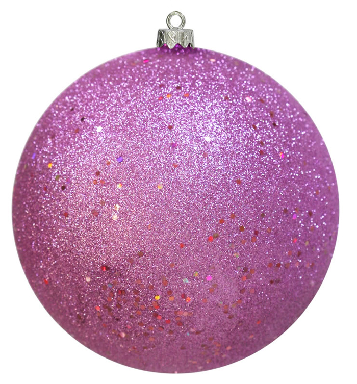 "Pink Holographic Glitter Sparkle Shatterproof Christmas Ball Ornament 6"" (150mm)"