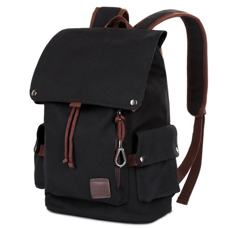 Vbiger - Vbiger Vintage Canvas Backpack Men s Outdoor Hiking Travel Large  School Rucksack Casual Daypacks Bookbags (Black) - Walmart.com 802fe30b59056