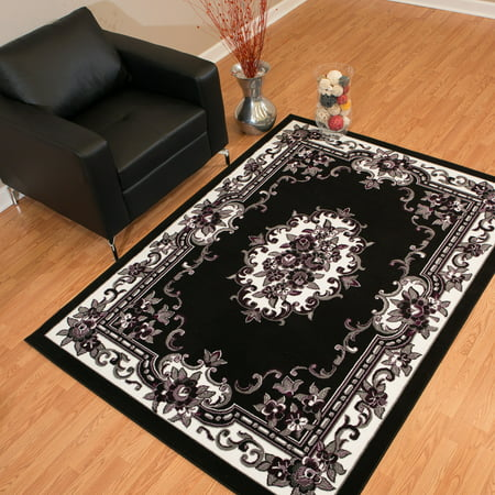 United Weavers Brasserie Demitasse Oriental Black Woven Olefin Area Rug or Runner ()