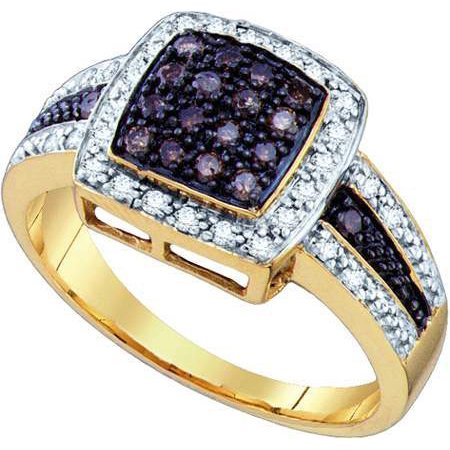 14K Yellow Gold 0.50ct Shiny Pave Brown Diamond Round Cut Square Fashion (Gold Diamond Cut Pave)