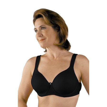 Post Mastectomy Seamless Padded Strap Molded Underwire Bra #758  - 38B - Black