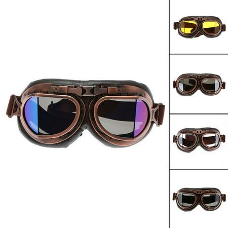 Motorcycle Goggles Glasses Vintage Motocross Retro Aviator Pilot Cruiser ATV UV Protection Goggles - image 3 of 7