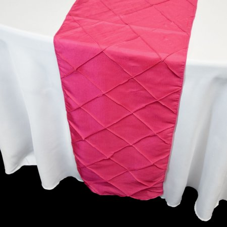 Quasimoon Fuchsia / Hot Pink Pintuck Chameleon Table Runner - 12 x 108 Inch by PaperLanternStore