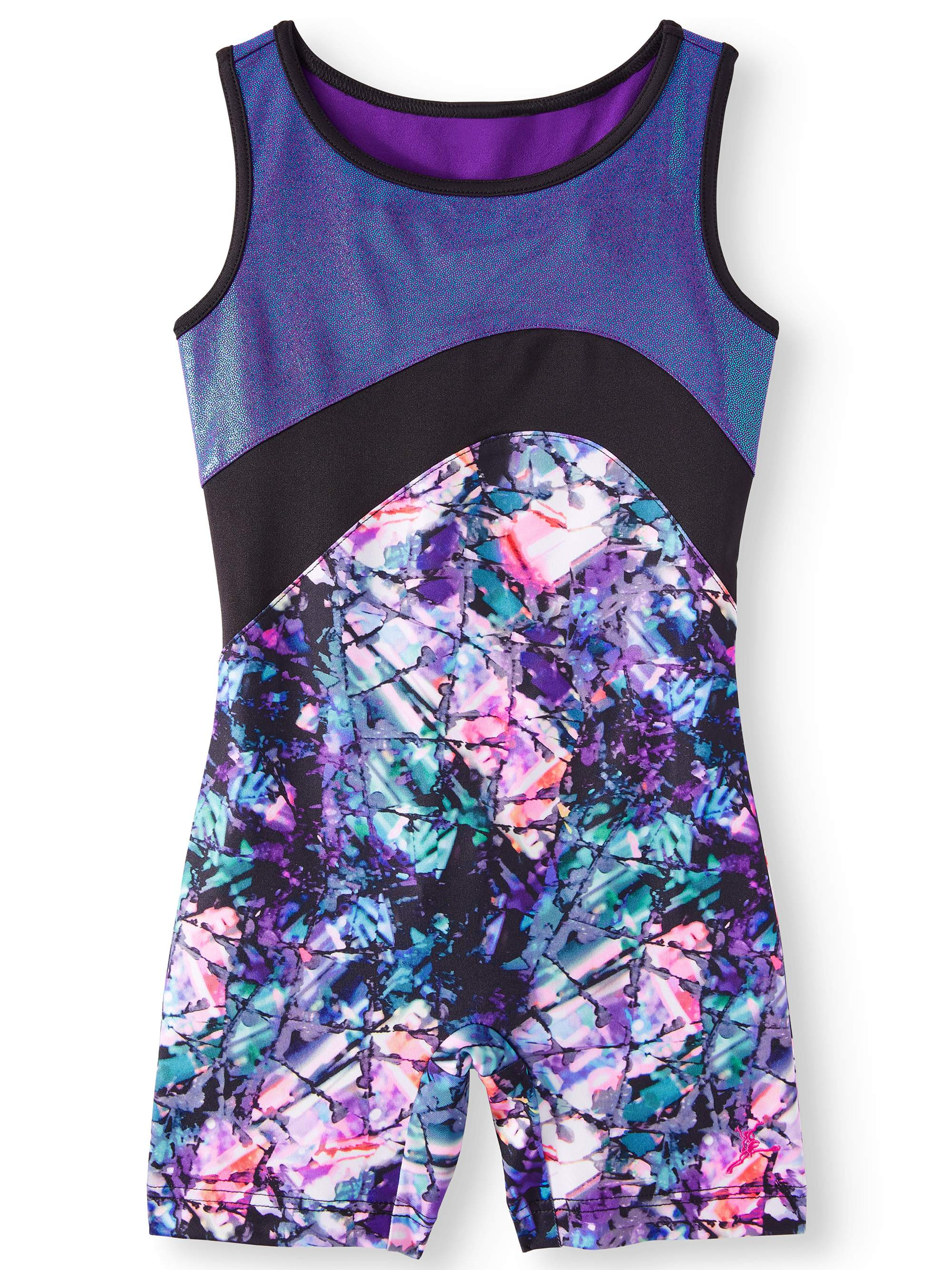 Enchanted printed Biketard with surplice keyhole back and foiled inset