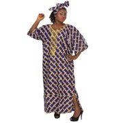 African Planet Women's Purple Wax Inspired Kaftan Caftan Dress Maxi Embroidered