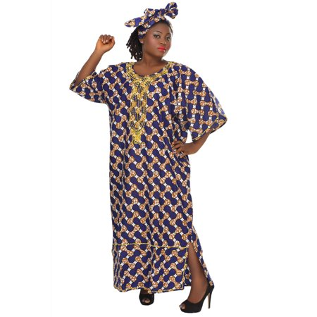 African Planet Women's Purple Wax Inspired Kaftan Caftan Dress Maxi Embroidered](Cheap 1920s Inspired Dresses)