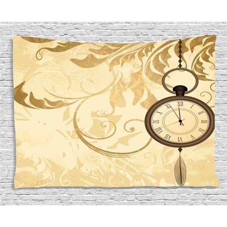 Clock Decor Tapestry, A Vintage Grungy Background Design with Pocket Watches on Chain Romantic Art Print, Wall Hanging for Bedroom Living Room Dorm Decor, 60W X 40L Inches, Brown, by Ambesonne