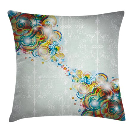 Abstract Decor Throw Pillow Cushion Cover, Modern Rainbow Like Wavy Circled Bright Patterned Disco Themed Artwork, Decorative Square Accent Pillow Case, 16 X 16 Inches, Multi Colored, by Ambesonne