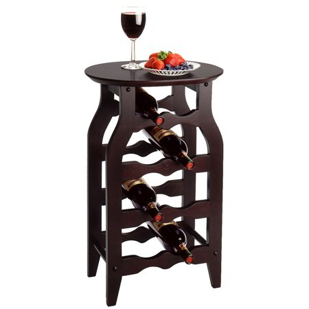 Solid Wood 8 Bottle Wine Rack  Espresso