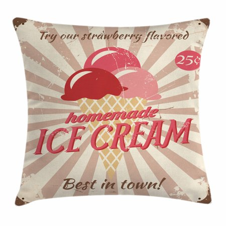 Ice Cream Decor Throw Pillow Cushion Cover Vintage Sign With Amazing Homemade Decorative Pillows