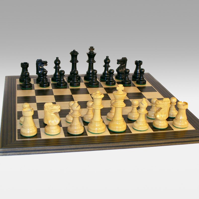 French Knight Boxwood Chess Set with Ebony Maple Board by World Wise Imports