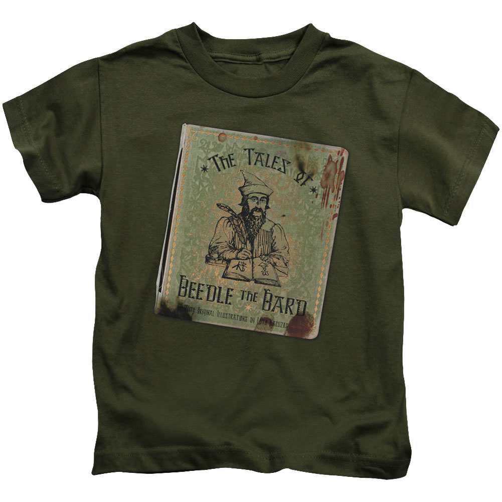 Harry Potter Boys' Beedle The Bard Childrens T-shirt Military Green