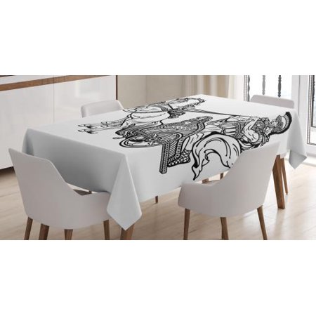 Toga Party Tablecloth, Roman Warrior in a Chariot Pulled by Two Horses Historic Carriage Monochrome, Rectangular Table Cover for Dining Room Kitchen, 52 X 70 Inches, Black White, by Ambesonne