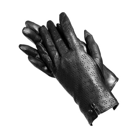 Black Lamb Leather - Isotoner A68423PAT Women's Lamb Leather Gloves Black Perforated  8.5