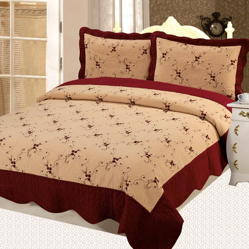 Home Sensation Napoles Premium Cotton Embroidery 3 Piece Quilt Set