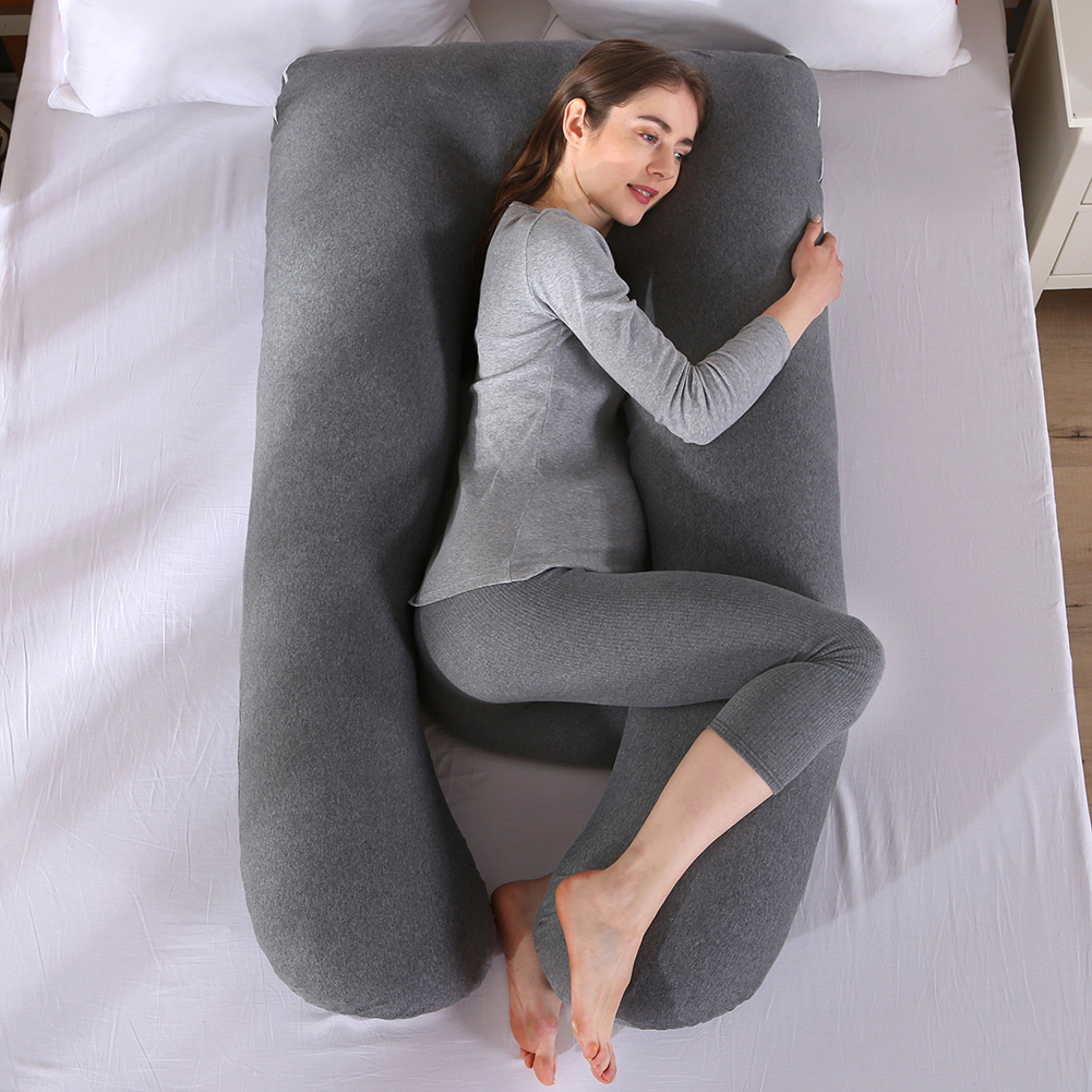 Extra Large Pregnancy Pillow Maternity Belly Contoured Body Knitted Cotton Cover