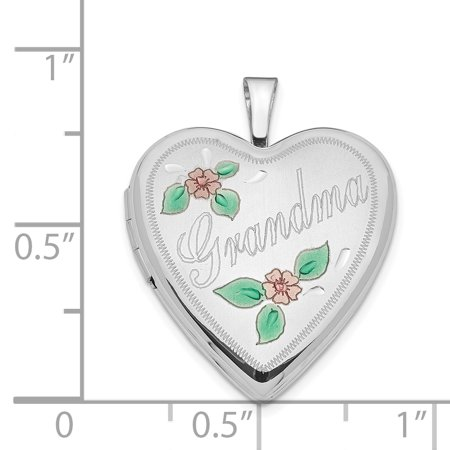 14K White Gold 20mm White Gold Enamel Flowers Grandma Heart Locket - image 2 de 3