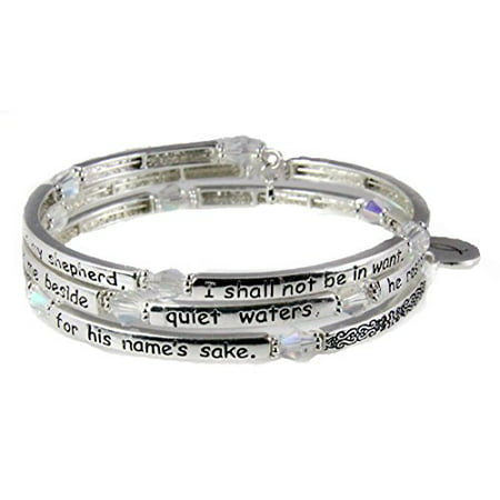 Psalm 23 Coil Bracelet Scripture The Lord is my Shepherd Religious Cross Bible Scripture
