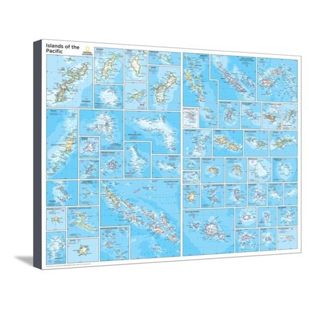 2014 Islands of the Pacific - National Geographic Atlas of the World, 10th Edition Stretched Canvas Print Wall Art By National Geographic Maps ()