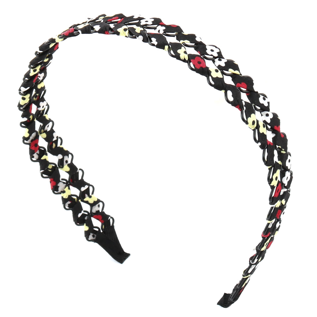 Woman Lady Fabric Overlapped Braided Flower Pattern Broadside Hair Hoop Headband